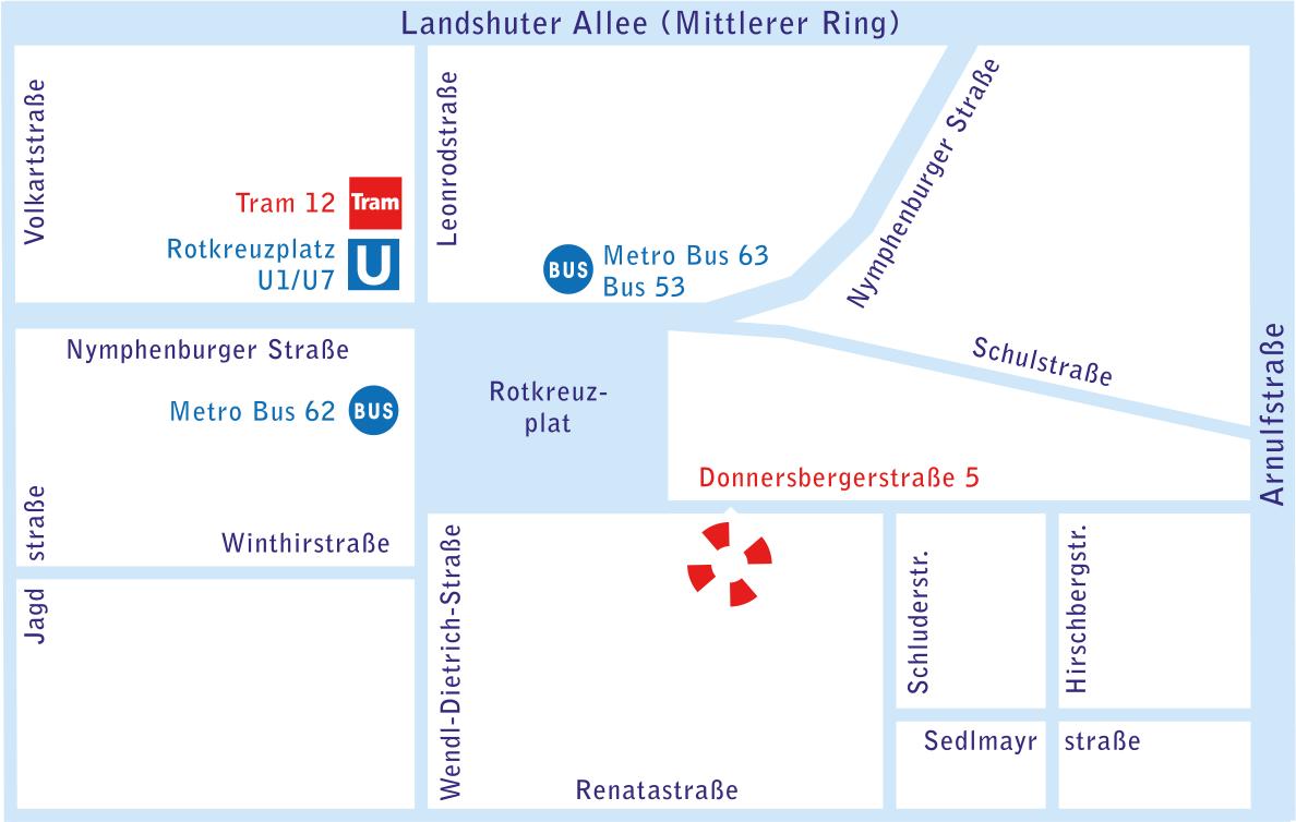 Anfahrt Muenchen Kinderzahnarzt am Rotkreuzplatz - Kontakt